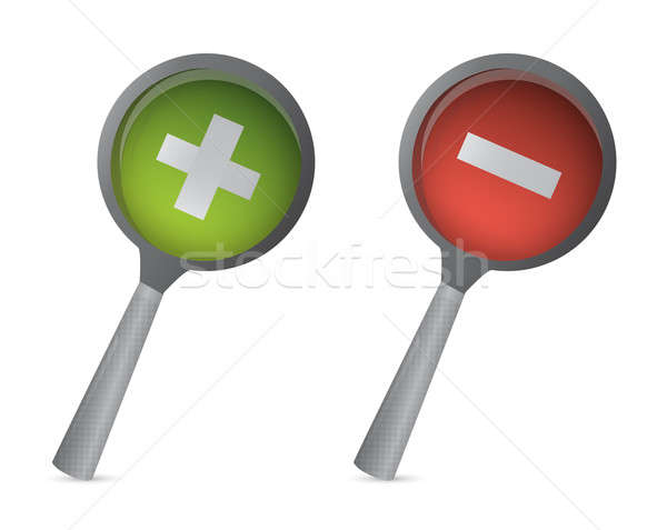 Magnifiers with plus and minus signs illustration design Stock photo © alexmillos