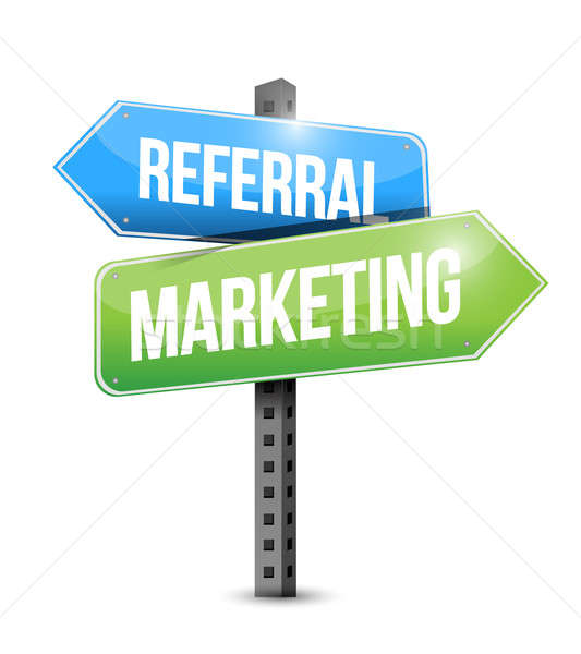 Referral Marketing road sign illustration design over white Stock photo © alexmillos