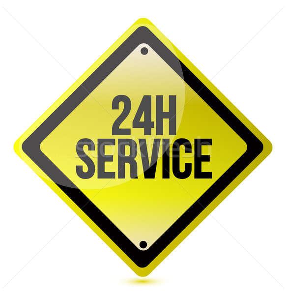 24 hour service yellow sign Stock photo © alexmillos