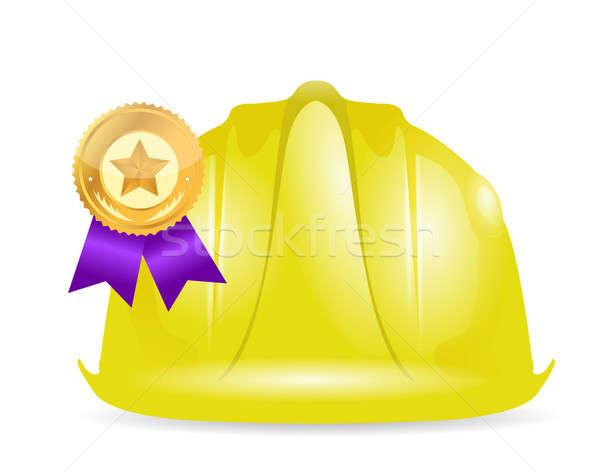 Award ribbon under construction sign  Stock photo © alexmillos