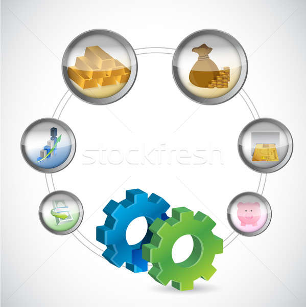 Photo stock: Engins · symbole · monétaire · icônes · cycle · affaires