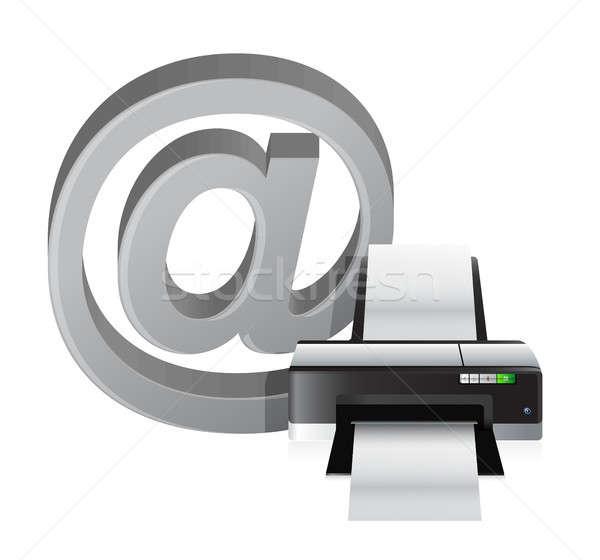 printer and internet at sign Stock photo © alexmillos