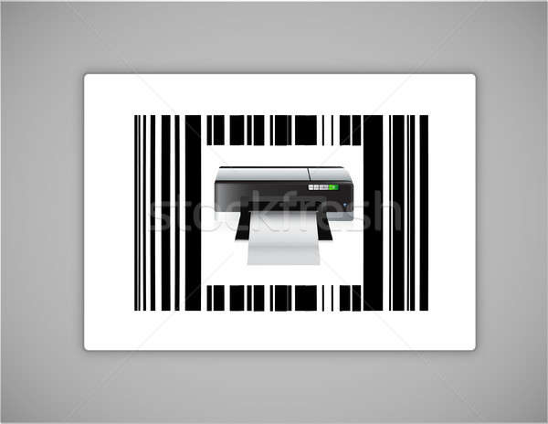 Printer bar code illustratie ontwerp witte Stockfoto © alexmillos