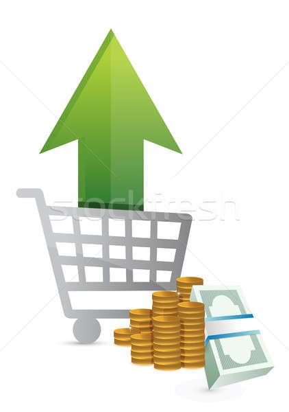 Imagine de stoc: Cumpărături · vânzări · in · sus · ilustrare · proiect · alb