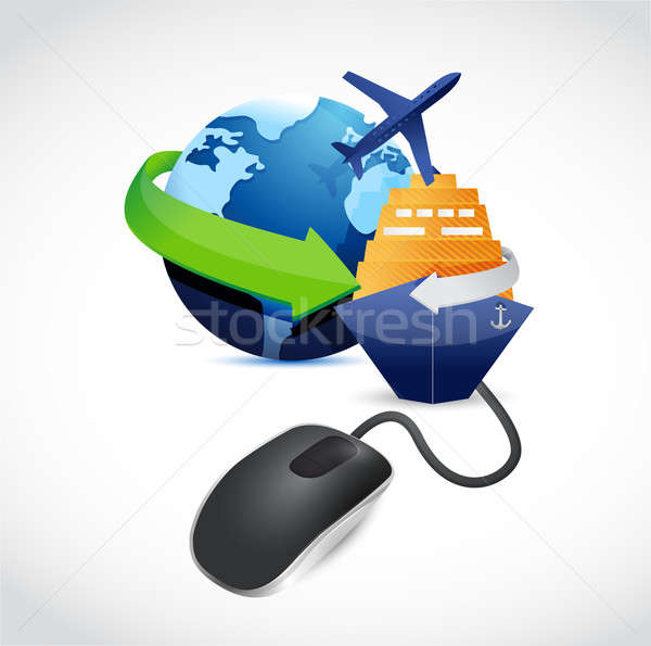 travel sign connected to mouse illustration Stock photo © alexmillos