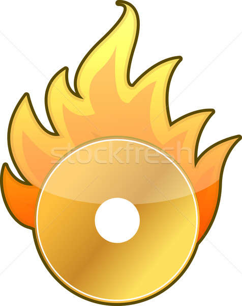 Burning CD DVD icon over a white background Stock photo © alexmillos
