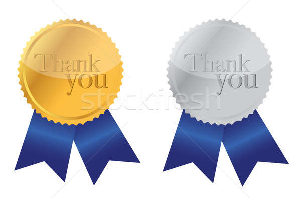 Thank you Award medals golden and silver with blue ribbons. Stock photo © alexmillos