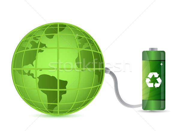 green battery with earth globe isolated on white background Stock photo © alexmillos