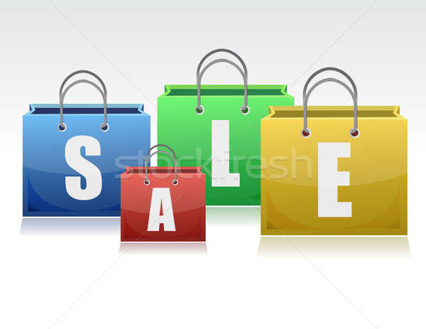 multi-colored bags illustration, relating with sales design. Stock photo © alexmillos