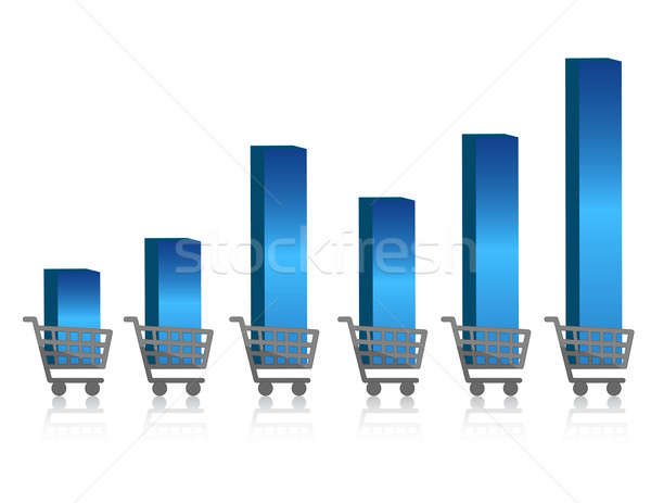 Uprising shopping growth graph isolated over a white background. Stock photo © alexmillos