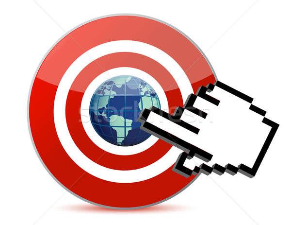 cursor hand clicks on search engine marketing SEM world Stock photo © alexmillos