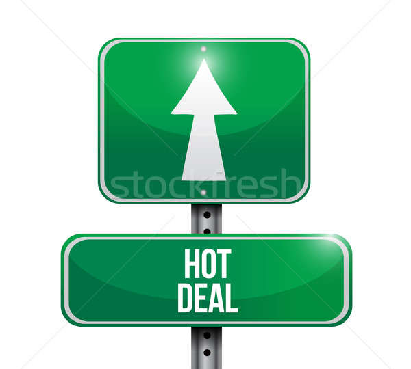 hot deal road sign illustration design over a white background Stock photo © alexmillos