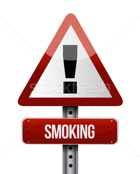 smoking road sign illustration design over a white background Stock photo © alexmillos