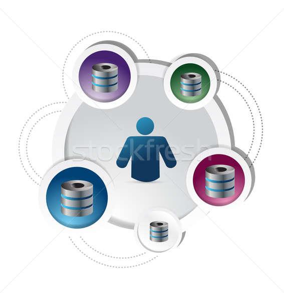 server diagram concept illustration design over a white backgrou Stock photo © alexmillos