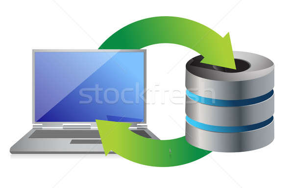 server and laptop Database backup concept illustration design ov Stock photo © alexmillos