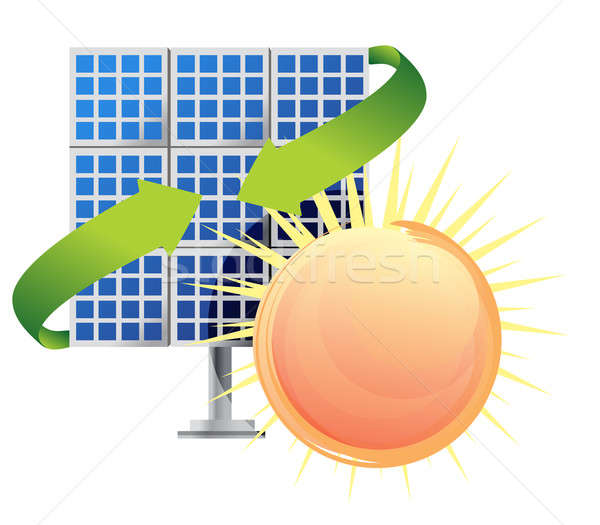 Solar panel and batteries with sun illustration Stock photo © alexmillos