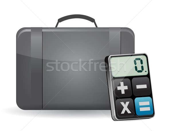 suitcase and modern calculator illustration design over white Stock photo © alexmillos