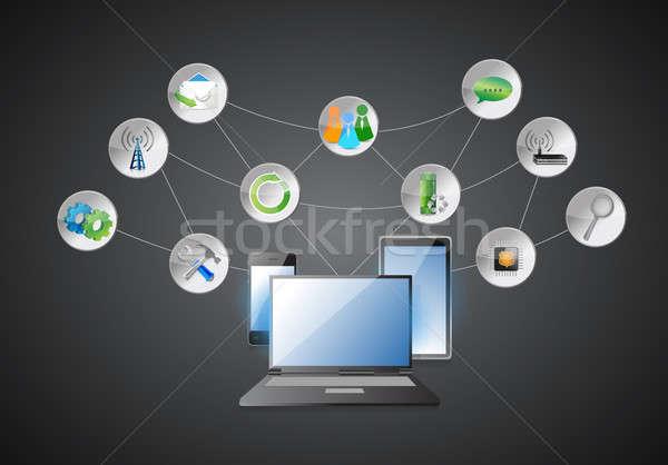 エレクトロニクス アプリ 図 ビジネス 家 インターネット ストックフォト © alexmillos