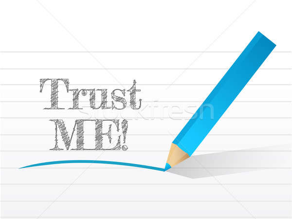 trust me in white notepad space illustration design over white Stock photo © alexmillos