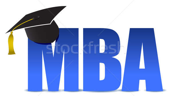 MBA graduation tassel hat over white background illustration Stock photo © alexmillos