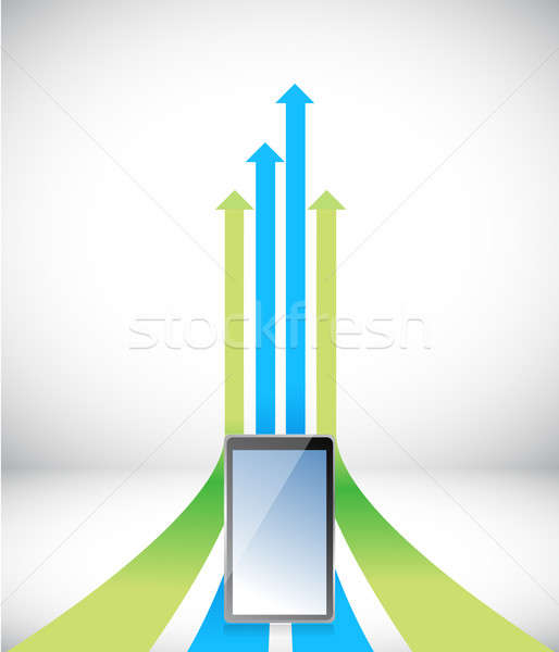 tablet Arrow rising toward same direction success concept illust Stock photo © alexmillos
