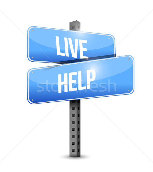 live help road sign illustration design over a white background Stock photo © alexmillos