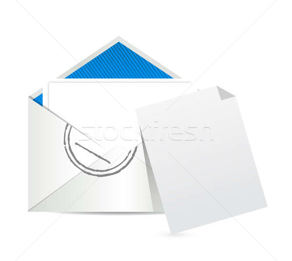empty piece of paper and e mail illustration design over white Stock photo © alexmillos
