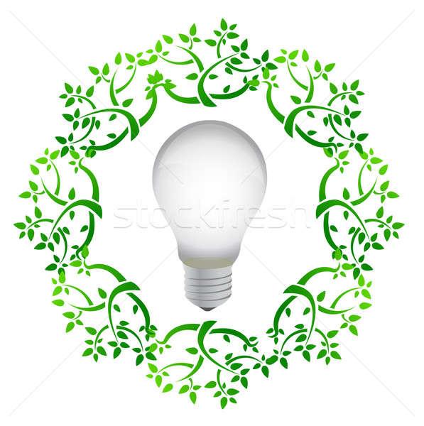 lightbulb leaves illustration design over a white background Stock photo © alexmillos