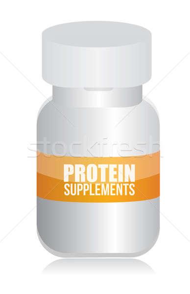 Fehérje kiegészítők műanyag gyógyszeres üveg illusztráció terv Stock fotó © alexmillos