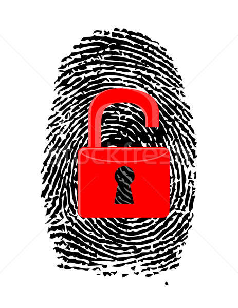 Finger Print with unlocked, red u-lock illustration design over  Stock photo © alexmillos