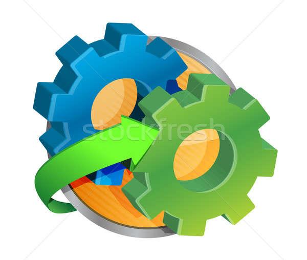 Cog roue bouton fond usine communication Photo stock © alexmillos