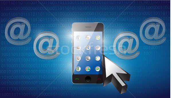 Smartphone gekozen Blauw binair computer technologie Stockfoto © alexmillos