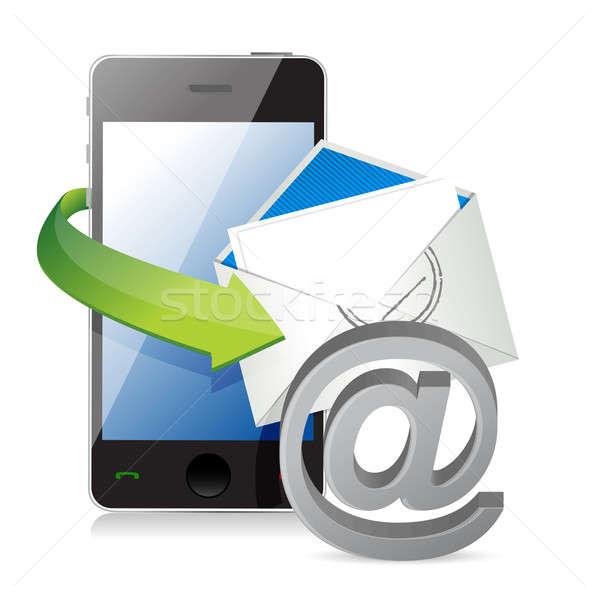 Stockfoto: Oproep · mail · telefoon · ontwerp · teken