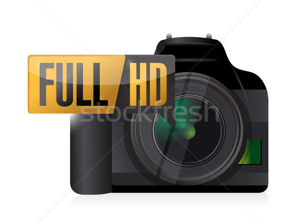 full hd video camera illustration design over white Stock photo © alexmillos