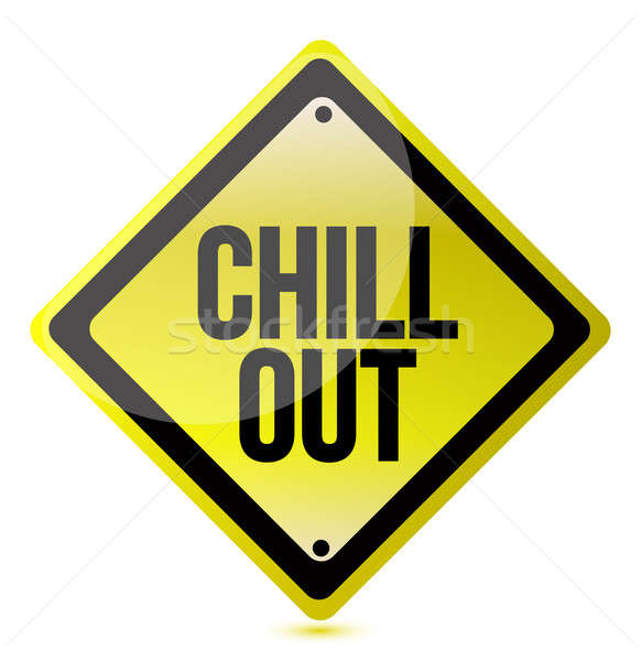 Stock photo: chill out yellow sign illustration over a white background