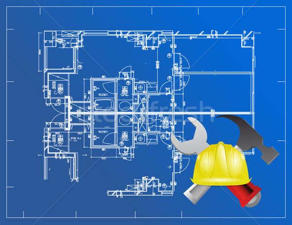 Bleu imprimer bâtiment outils illustration design Photo stock © alexmillos