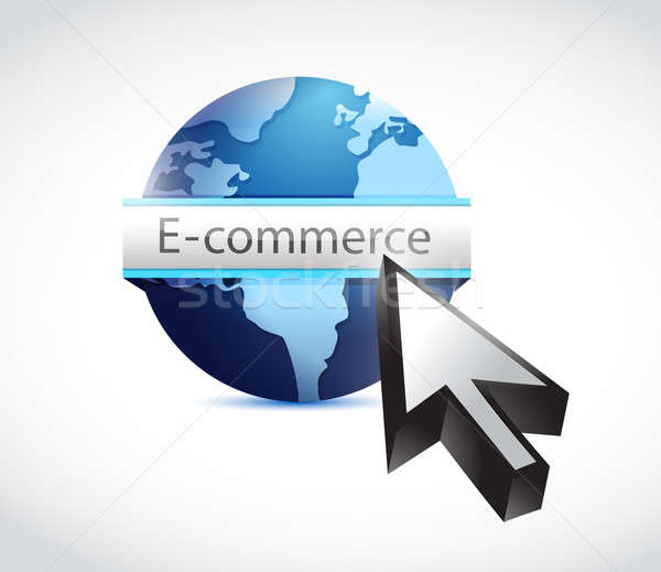 E commerce globe and cursor illustration Stock photo © alexmillos