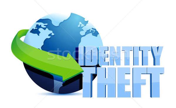 Kimlik hırsızlığı dünya imzalamak dizayn güvenlik sanat Stok fotoğraf © alexmillos