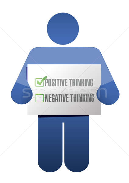 positive thinking sign illustration design over white Stock photo © alexmillos