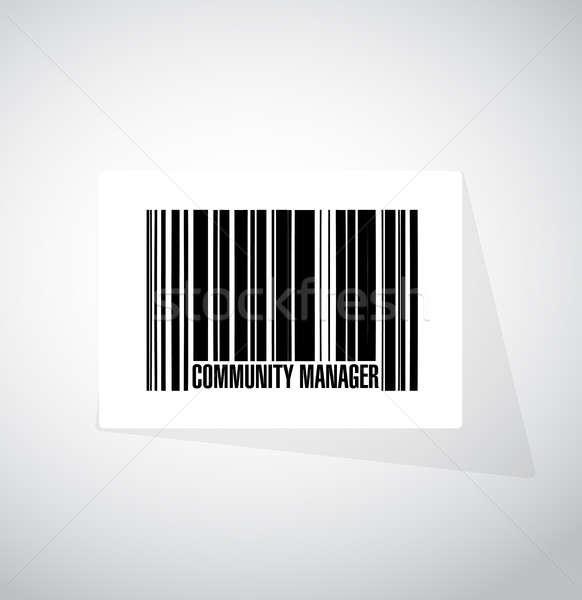 Közösség menedzser vonalkód felirat illusztráció terv Stock fotó © alexmillos