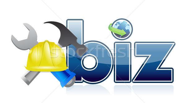 biz under construction sign Stock photo © alexmillos