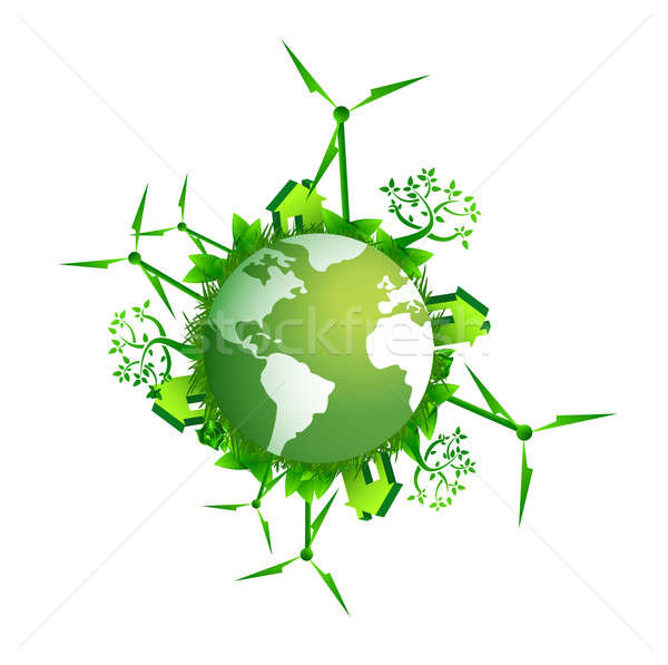 Save the earth-ecology concept illustration Stock photo © alexmillos