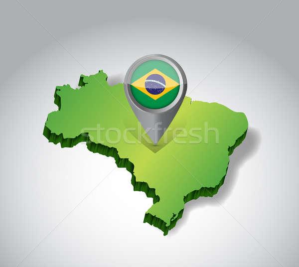 Бразилия карта флаг иллюстрация дизайна зеленый Сток-фото © alexmillos