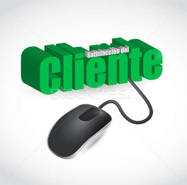 Espanol satisfacción del cliente signo ratón ilustración diseno Foto stock © alexmillos
