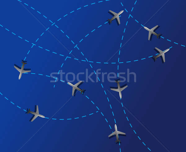 Air travel. Dotted lines are flight paths Stock photo © alexmillos
