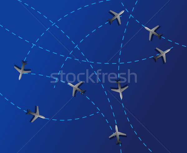 Воздушные путешествия пунктирный линия полет плоскости лет Сток-фото © alexmillos