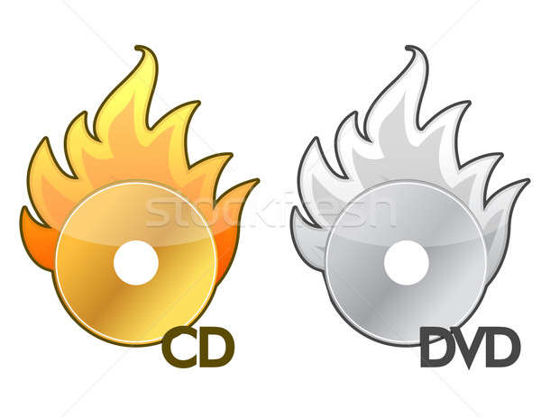 Burning CD / DVD icon over a white background Stock photo © alexmillos