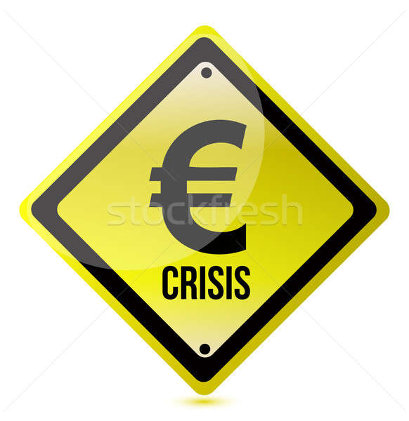 yellow euro crisis sign illustration design on white Stock photo © alexmillos