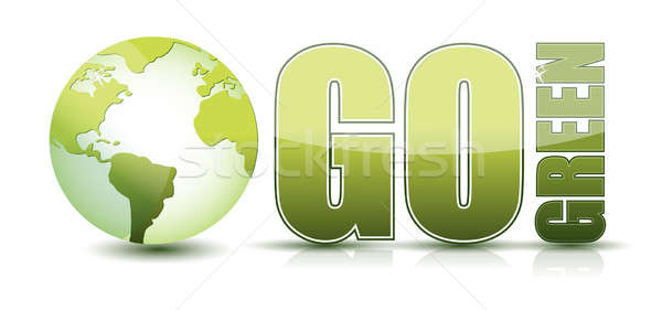 go green text illustration with globe isolated over a white back Stock photo © alexmillos