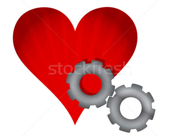 red heart and gears illustration design over white Stock photo © alexmillos